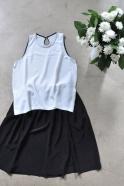 Sleeveless blouse, white silk