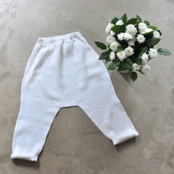 Pantalon sarouel, lin épais blanc