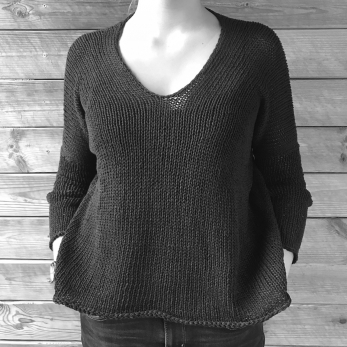 Sweater GEMA, black cotton/linen