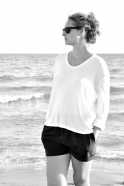 Tee-shirt manches longues, bambou blanc