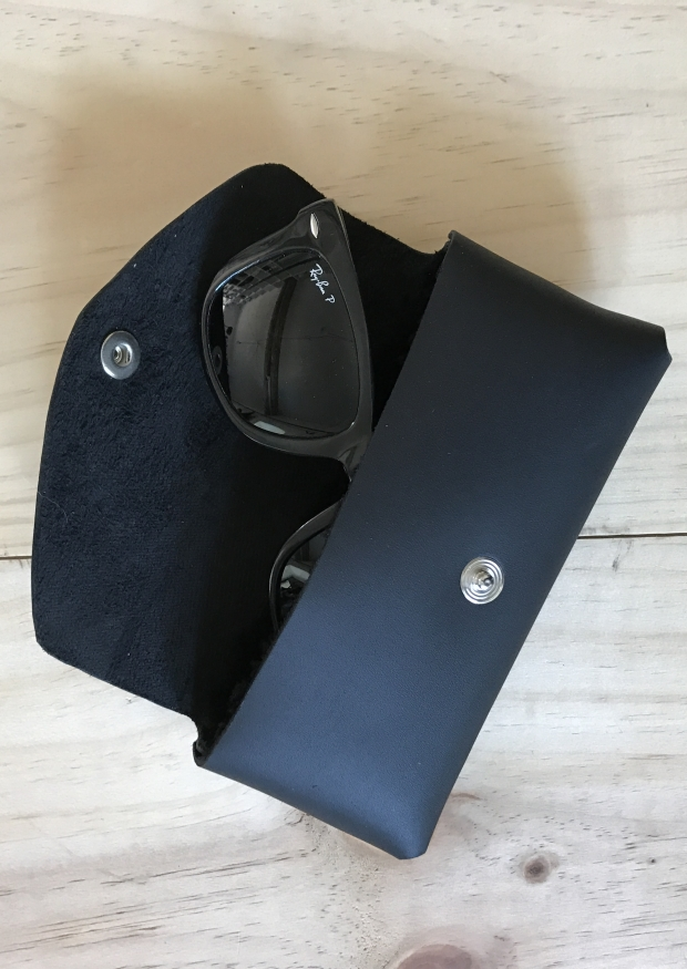 Eyeglass case, black leather