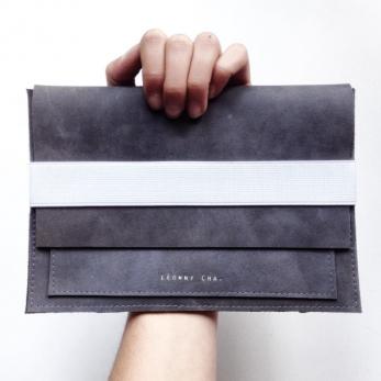 Housse ordinateur et tablette DOUDI, cuir gris