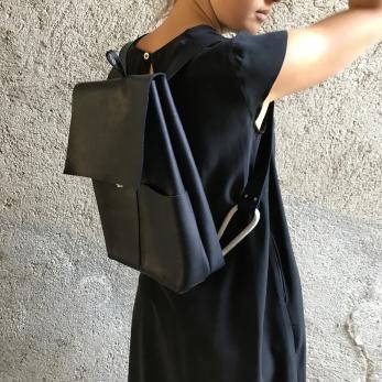 sac à dos ALICE, cuir noir