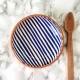 Stripe low bowl, blue