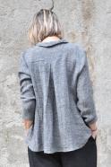 Pleated shirt, grey linen