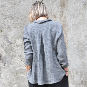 Pleated shirt, grey linen