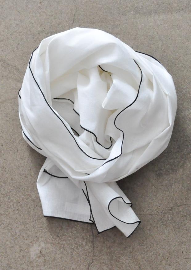 Echarpe, lin blanc