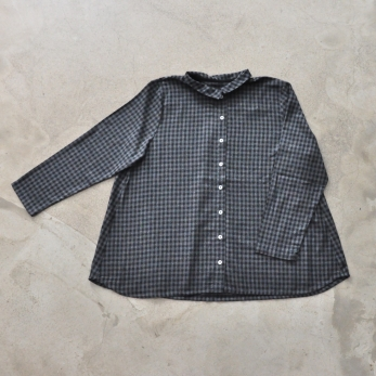 Pleated shirt, gingham fine wool blend