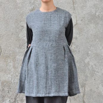 Apron-dress, grey linen