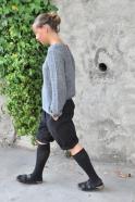 Long sleeves blouse, grey linen