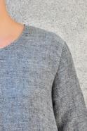 Robe évasée manches longues, lin gris