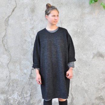 Robe-manteau, lainage rayé
