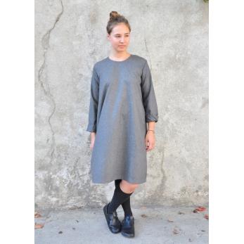 Robe évasée manches longues, lainage gris