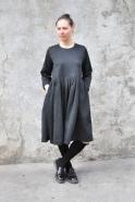 Robe à plis manches longues, lainage chiné