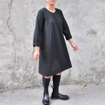 Robe évasée manches longues, lainage chiné