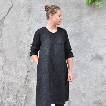 Flared dress, long sleeves, striped wool blend
