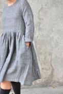 Robe à plis manches longues, lin gris