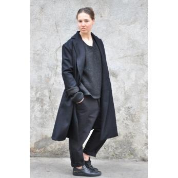 Unisex coat, black wool drap