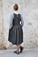 Robe à plis sans manche, lainage chiné