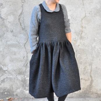 Pleated dress, sleeveless, striped wool blend
