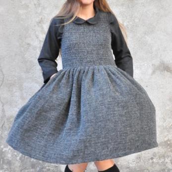 Pleated dress, sleeveless, curly wool blend