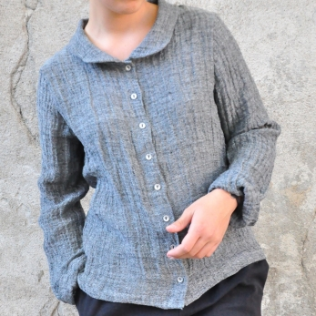 Long sleeves shirt, grey linen