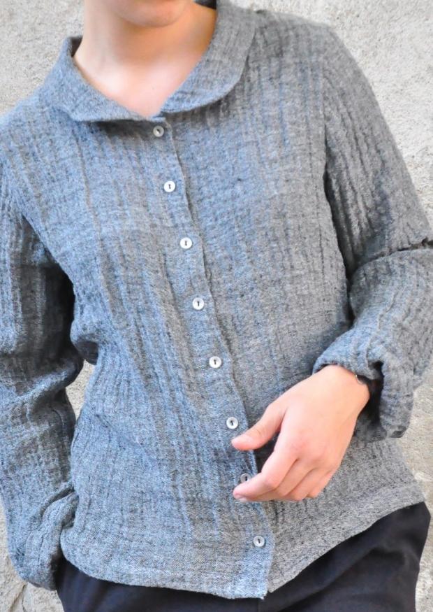 Chemise manches longues, lin gris