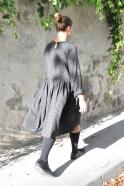 Robe à plis manches longues, lainage fin vichy