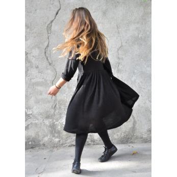 Pleated dress,  long sleeves, black knit