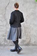 Pleated dress,  long sleeves, grey wool blend