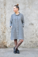 Robe-chemise, lin gris