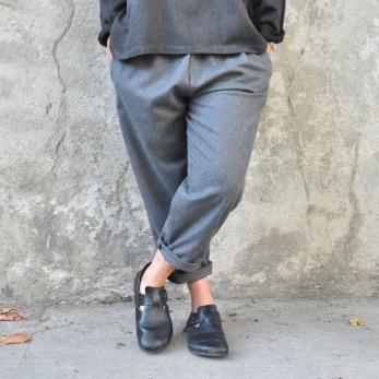 Pantalon classique, lainage gris