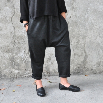 Pantalon sarouel, lainage chiné