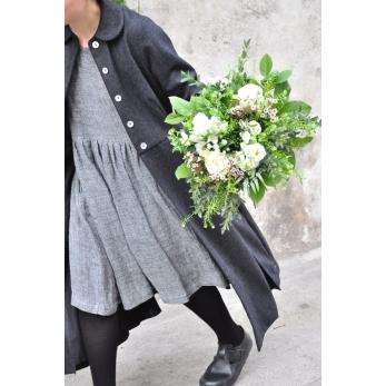 Pleated coat, grey wool drap