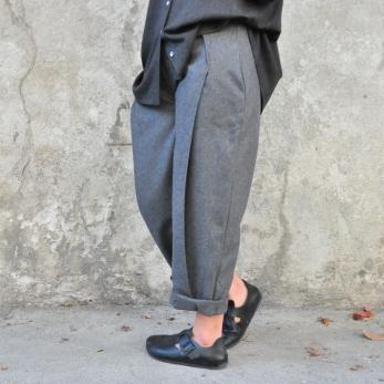 pantalon à plis, lainage gris