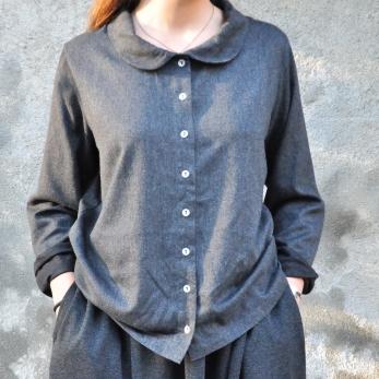 Chemise manches longues, lainage fin gris