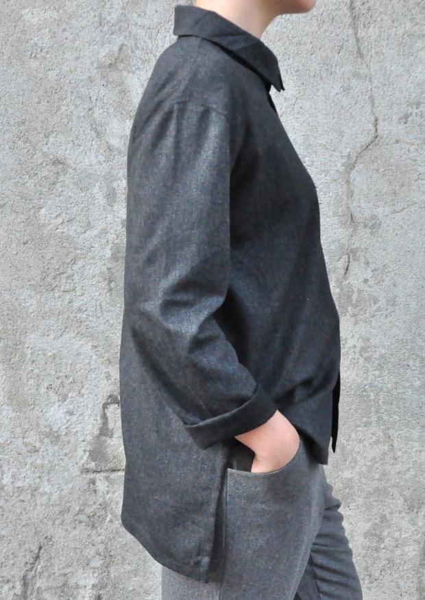 Chemise mixte, lainage fin gris