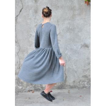Pleated dress,  long sleeves, light grey knit