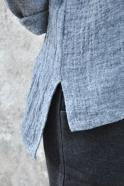 Chemise mixte, lin gris