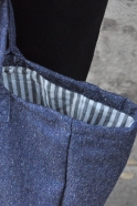 Squared bag with lining, blue denim