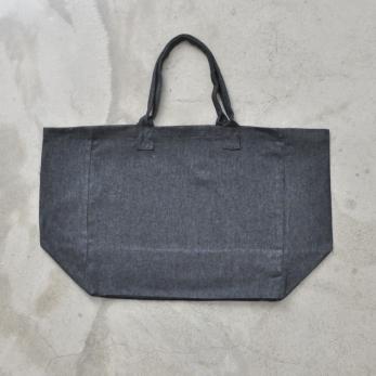 Squared bag, grey fine wool blend