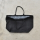 Squared bag with lining, black heavy linen