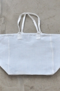 Squared bag with lining, white heavy linen