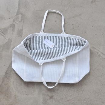 Cabas carré doublé, lin épais blanc