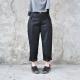 pantalon à plis, lainage noir
