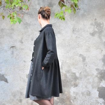 Shirt-dress, heather wool blend