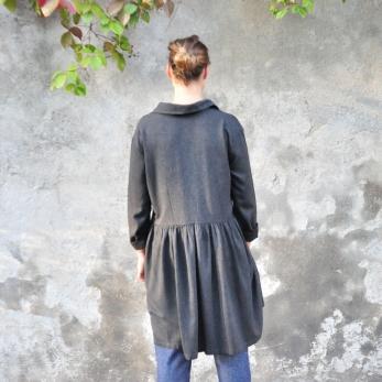 Shirt-dress, fine grey wool blend