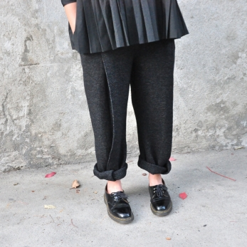 Pleated trousers, striped wool blend