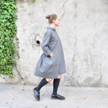 Robe-chemise, lainage gris