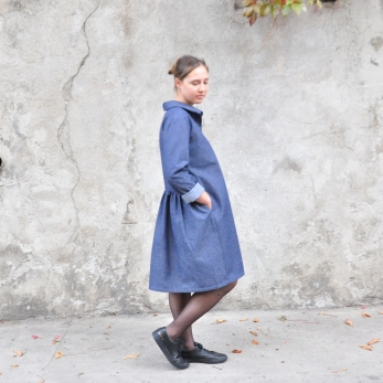Shirt-dress, blue denim